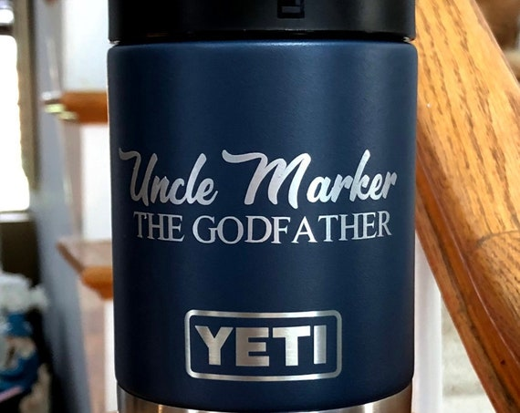 Personalized 12 ounce Vacuum Insulated Stainless Steel bottle/can cooler - Personalized Groomsmen Gifts, Father's Day, Dad, Corporate Gift