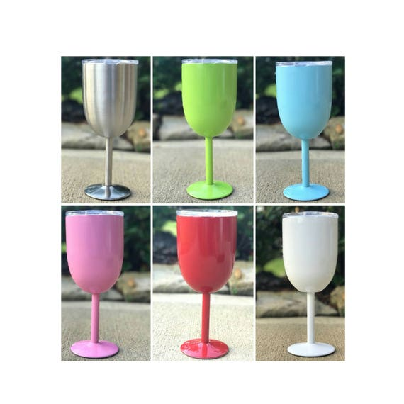 Customized stemmed wine tumbler with lid