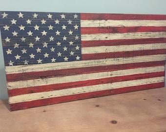 BIG HIT!  MEDIUM Pallet American Flag | Rustic | Weathered | Distressed