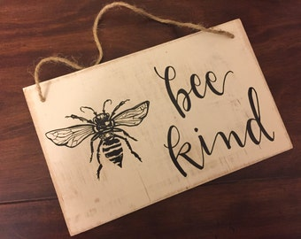 FREE SHIPPING   Bee Kind   Rope Hanger   Bee Keeper   Bees