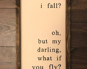 What If I Fall | What If You Fly | Nursery Decor | Framed Signs | Farmhouse Style