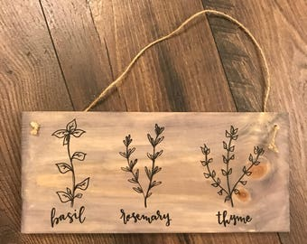 Herb Kitchen Sign | Rope Hanger Sign