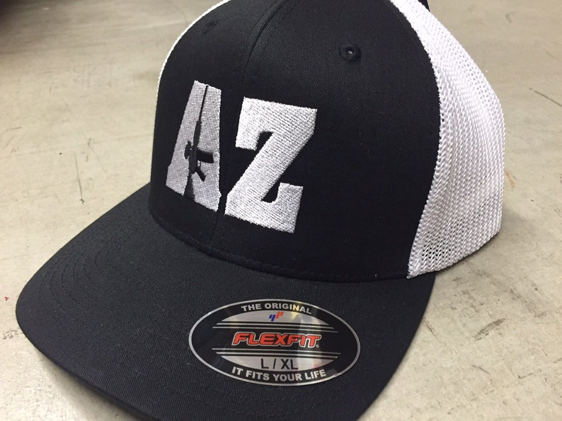 AR-15 Hat - AR15 - Arizona State Gun Hat Flexfit Fitted Cap Mesh Back  Trucker White Black