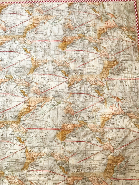 Map of the World Quilt   Etsy