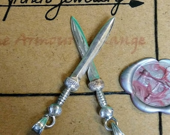 Optional Chain Large Sterling Silver Roman Gladius Sword Pendant or Necklace