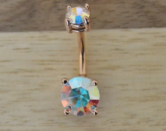 Aurora Borealis Rainbow Gem White Hibiscus Flower Rose Gold Plated Belly Button Ring Navel Body Piercing Jewelry