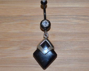 Large Square Black Stone and Clear Double Gem Dangle Black Belly Button Ring Navel Body Piercing Jewelry