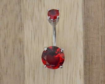 Red Round Shape Double Prong Set Gem Belly Button Ring Navel Body Piercing Jewelry