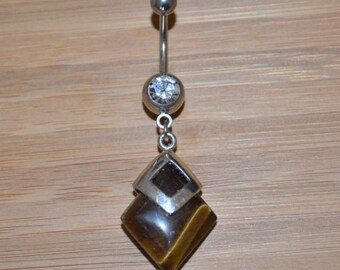 Large Square Simulated Tigers Eye Stone and Clear Double Gem Dangle Belly Button Ring Navel Body Piercing Jewelry
