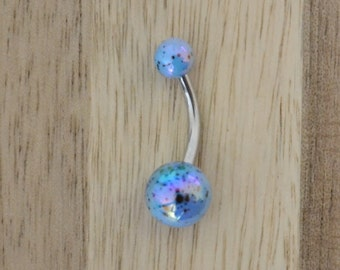 Blue Paint Splatter Metallic Shiny Balls Acrylic Belly Button Ring Navel Body Piercing Jewelry
