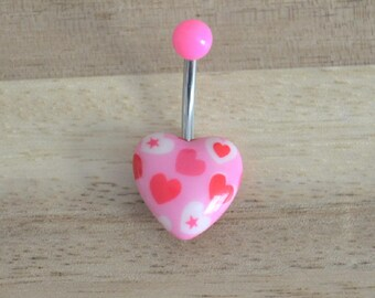 Pink Heart and Star Print Heart Shape Acrylic Belly Button Ring Navel Body Piercing Jewelry
