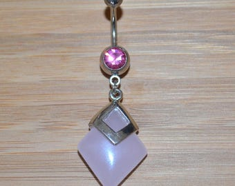 Large Square Pink Stone and Pink Double Gem Dangle Belly Button Ring Navel Body Piercing Jewelry
