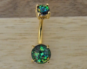 Green Simulated Opal Round Shape Double Prong Set Gold Plated Belly Button Ring Navel Body Piercing Jewelry