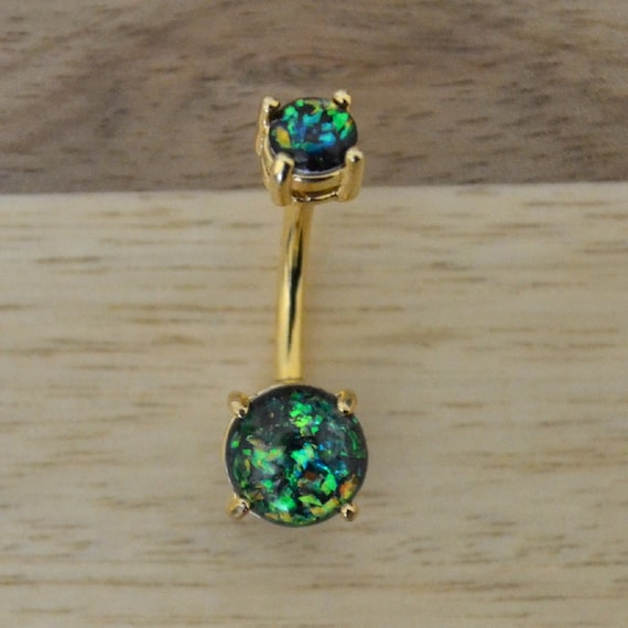 Dark Green Simulated Opal Heart Shape Prong Belly Button Ring Navel Body Piercing Jewelry