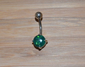 Green Simulated Opal Round Shape Prong Belly Button Ring Navel Body Piercing Jewelry