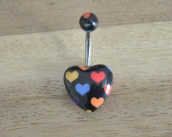 Black and Multi Colored Heart Print Heart Shape Acrylic Belly Button Ring Navel Body Piercing Jewelry