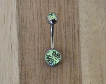 Green Double Gem Belly Button Ring Navel Body Piercing Jewelry