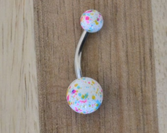White, Pink, Yellow and Blue Paint Splatter Balls Acrylic Belly Button Ring Navel Body Piercing Jewelry
