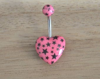 Pink and Black Star Print Heart Shape Acrylic Belly Button Ring Navel Body Piercing Jewelry