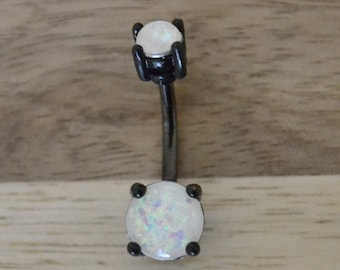 White Simulated Opal Round Shape Double Prong Set Black Belly Button Ring Navel Body Piercing Jewelry