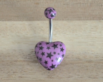 Purple and Black Star Print Heart Shape Acrylic Belly Button Ring Navel Body Piercing Jewelry