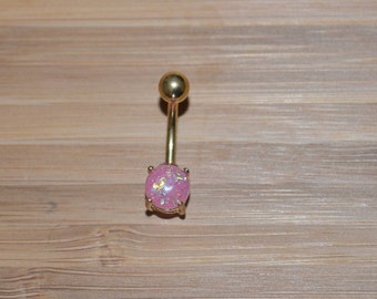 Pink Simulated Opal Round Shape Prong Gold Plated Belly Button Ring Navel Body Piercing Jewelry