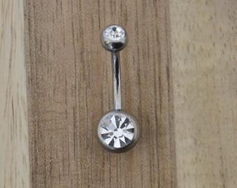 Clear Double Gem Belly Button Ring Navel Body Piercing Jewelry