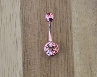All Pink Double Gem Belly Button Ring Navel Body Piercing Jewelry