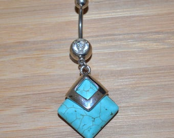 Large Square Blue Simulated Turquoise Stone and Clear Gem Dangle Belly Button Ring Navel Body Piercing Jewelry