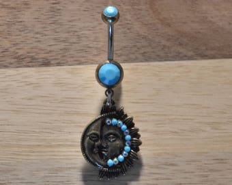Blue Simulated Turquoise Stone Sun and Moon Double Gem Dangle Belly Button Ring Navel Body Piercing Jewelry