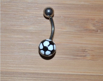 Black and White Soccer Ball Acrylic Belly Button Ring Navel Body Piercing Jewelry
