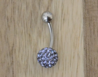 Purple Chunky Multi Gem Ball Belly Button Ring Navel Body Piercing Jewelry