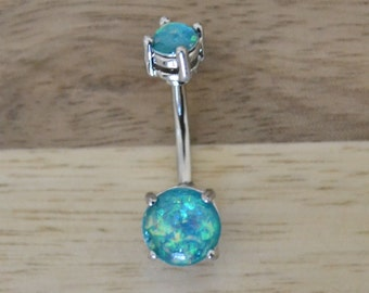 Teal Simulated Opal Round Shape Double Prong Set Belly Button Ring Navel Body Piercing Jewelry