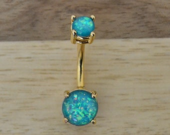 Teal Simulated Opal Round Shape Double Prong Set Gold Plated Belly Button Ring Navel Body Piercing Jewelry