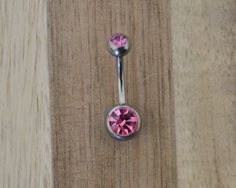 Pink Double Gem Belly Button Ring Navel Body Piercing Jewelry