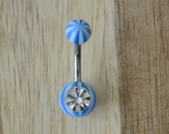 Blue Striped Ball with Clear Gem Acrylic Belly Button Ring Navel Body Piercing Jewelry
