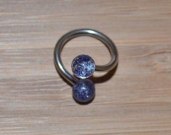 Blue Glitter Balls Twist Barbell Body Piercing Jewelry