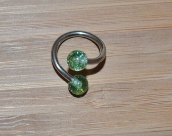 Green Glitter Balls Twist Barbell Body Piercing Jewelry