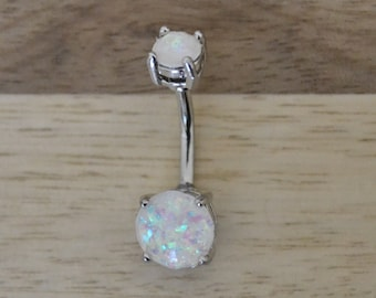 White Simulated Opal Round Shape Double Prong Set Belly Button Ring Navel Body Piercing Jewelry