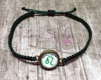 Macrame bracelet green with cabochon 12mm zodiac sign Leo