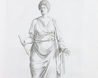 Vintage Engraving After Classical Statue Composition