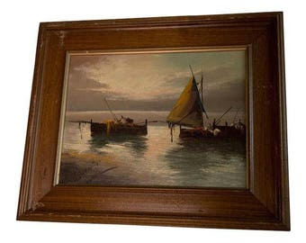 """Vintage """"Sailboats at Sunset"""" Oil Painting"""