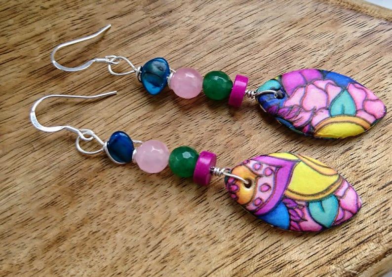 df83e07ddcadf2 Colourful earrings multicoloured drop gemstone jewellery | Etsy
