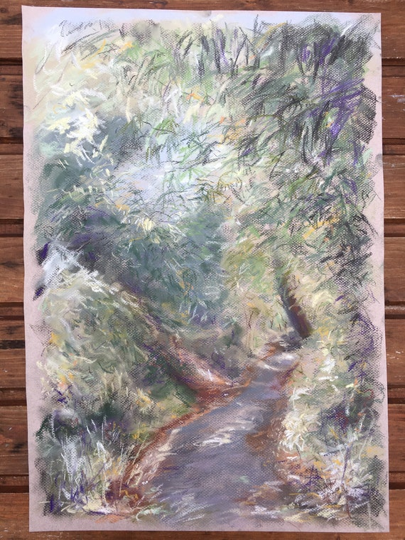 ORIGINAL soft pastel drawing Landscape Green Trees Leaves Nature Wall Art Contemporary Canford Cliffs Chine summer
