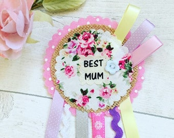 Personalised Mother rosette, Auntie Badge, Floral Rosette, Mothers Day,  Mother Birthday