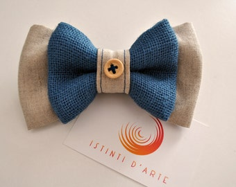 Handmade bow tie vintage style  made up of pure linen and jute.