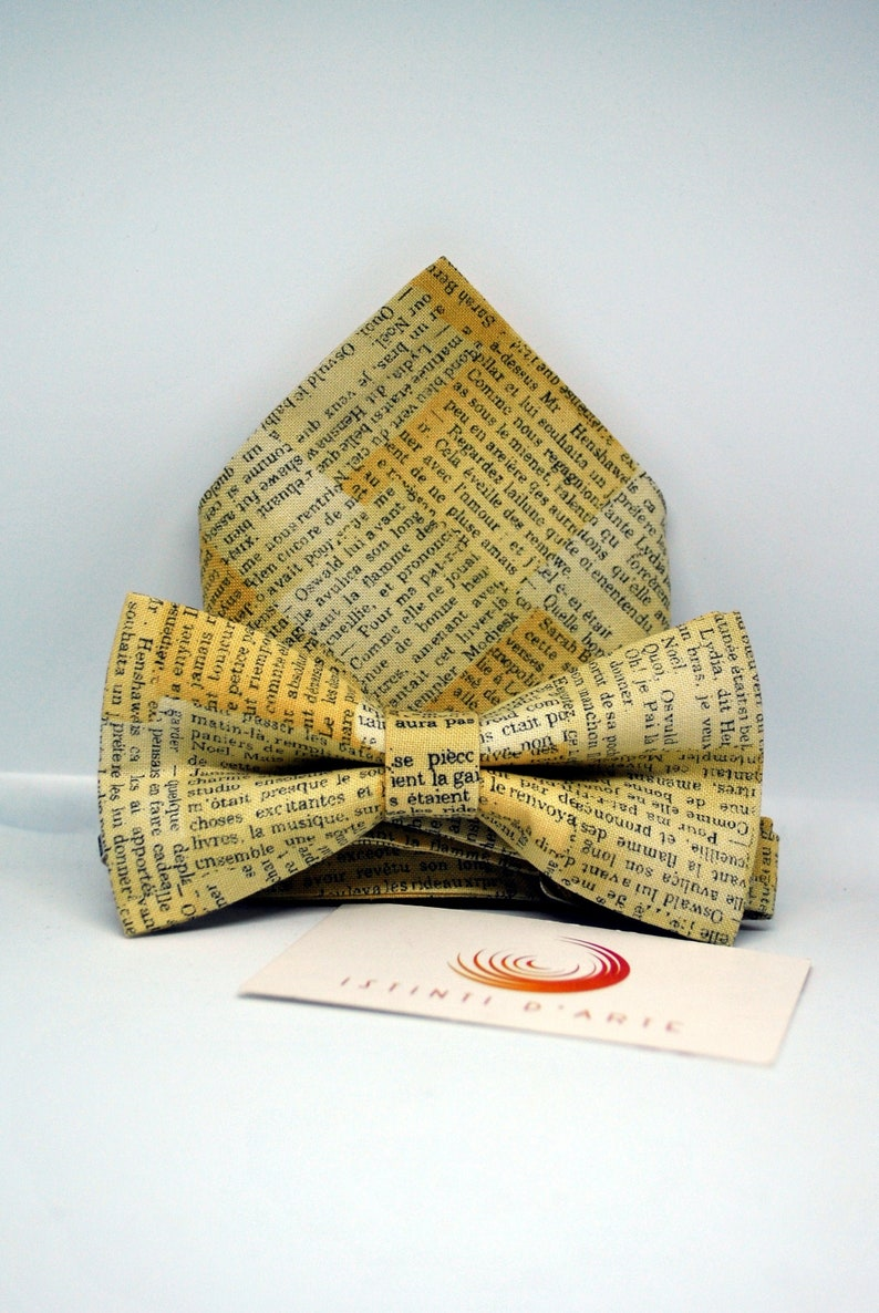 accessories for men Bow tie and handkerchief set in fantasy newspaper clippings bow ties for men or children for him gift idea for men