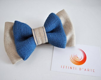 Bow tie for men made of pure linen fabric and blue jute