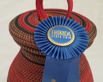 Pine Needle Basket - Large Native American - Made in FL - 1st place Ribbon - Wedding Birthday Office Gift - Art Sculpture - 1495.00