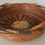 Cream Gold Green & Natural Brown Pine Needle Basket - Rock Stone - Handmade Go Green - Dresser Jewelry Gift Christmas Made in FL USA - 85.00